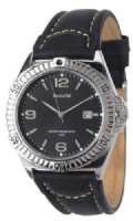 Gents ACCURIST MS873B Leather Strap Black Dial Date Window 50m
